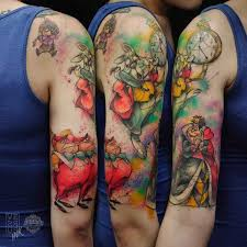alice in wonderland tattoo half sleeve best tattoo ideas gallery