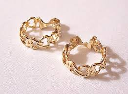 design of earrings gold monet heart hoop clip on earrings gold tone vintage linked open