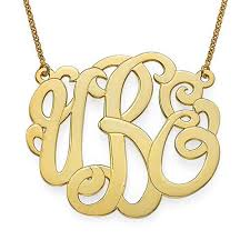 Monogram Necklaces Scroll Monogram Necklace 18k Gold Plated U2013 Initial Obsession