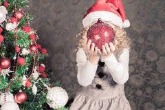 funny little decorating christmas tree stock photo image