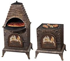 Garden Chiminea Sale Amazon Com Deeco Dm 0039 Ia C Aztec Allure Cast Iron Pizza Oven