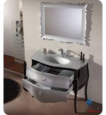45 fresca platinum glossy silver black bathroom vanity w