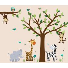 Tree Decal For Nursery Wall Jungle Murals For Rooms With Elephant Wall Decals For Boys Rooms