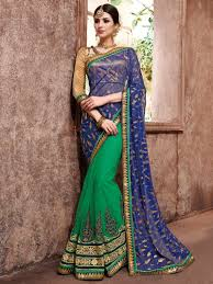 u0026 green colour net embroidered latest saree blouse design