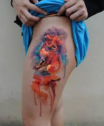 stunning watercolor fox thigh tattoo best tattoo design ideas