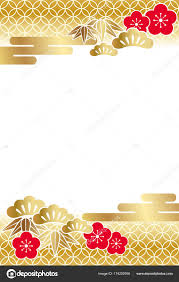 new year items a new year card template with traditionally auspicious items in