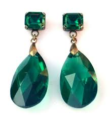 gaudy earrings emerald earrings earrins by vintagebynina on etsy