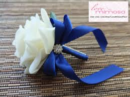 royal blue boutonniere men s boutonniere ivory royal blue ribbon boutonniere