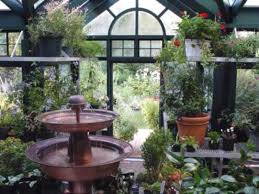 fountain water feature in a greenhouse