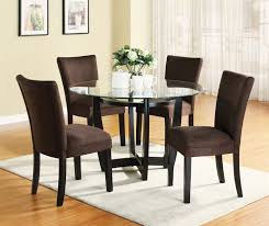 5 piece dinette set with round glass table top in cappuccino