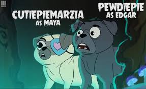 youtube stars pewdiepie cutiepiemarzia voice animated pugs in