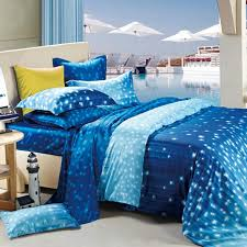 Damask Print Comforter Cobalt Blue White And Light Blue Galaxy Scene Star Print Kids
