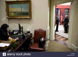 Desk In Oval Office by U S President Barack Obama Talks With Joint Chiefs Of Staff