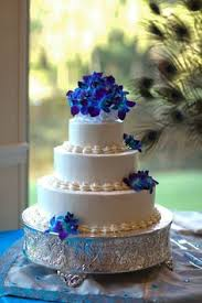 blue orchids wedding cake with crystals by classic cakes wedding