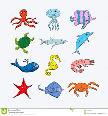 collection of colorful sea and ocean animals whale octopus