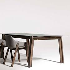 Blu Dot Strut Table Contemporary Dining Table Solid Wood Ash Tempered Glass