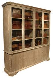 chamberet french country distressed gray 4 door bookcase cabinet