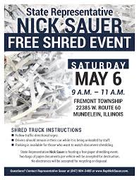 where to shred papers for free rep sauer to host free shredding event with fremont township