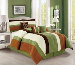 Striped Comforter 7 Piece Stripe Micro Suede Sage Ivory Brown Comforter Set