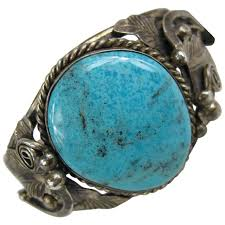 turquoise stone bracelet images Sterling silver native american navajo large turquoise stone cuff jpg