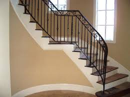 wood and iron stair railing beautifying house with iron stair