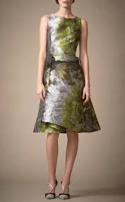 watercolor cocktail carolina herrera floral water color cocktail dress in green lyst