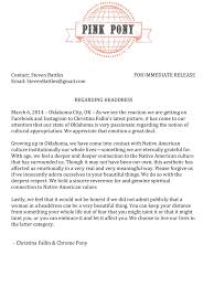 Correct Form For A Business Letter by Dear Christina Fallin Native Appropriations
