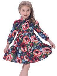 amazon com bonny billy u0027s long sleeve kid dress ruffle neck a