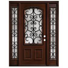 steves sons iron grille 3 4 arch lite stained mahogany wood