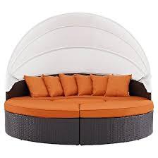 convene canopy outdoor patio daybed in espresso orange modway
