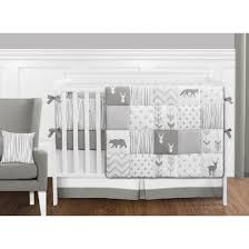 Jojo Crib Bedding Sweet Jojo Designs Woodsy Grey And White 9 Crib Bedding Set