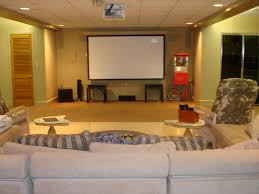Home Theater Rug Rectangle White Screen On Cream Wall Combined By Grey Velvet Sofa