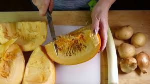 A Chef Slicing A Pumpkin by Hd 1080 Static Chef Chopping Leek Using Ceramic Blade Kitchen