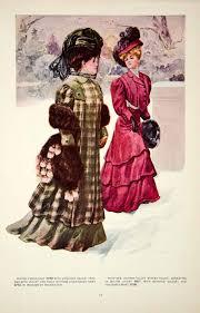 1907 color print fashion costume clothing dress edwardian women