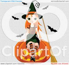 pumpkin no background clipart of a cute red haired white witch sitting on a giant