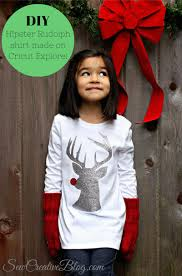 diy hipster rudolph shirt made with heat transfer vinyl from sew