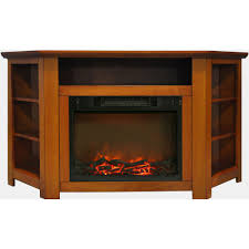 stratford 56 in electric corner fireplace in teak with 1500w