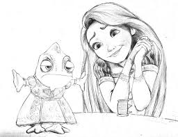 pencil drawings sketching rapunzel pascal pencil