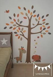 stickers girafe chambre bébé stickers arbre savane éléphant girafe orange beige marron chocolat