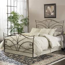 Iron Bed Set Carving Iron Bed Frame With Headboard And White Bedding Set On