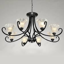 Glass Shade Chandelier 5 Light Black Wrought Iron Chandeliers Cylinder Glass Shade
