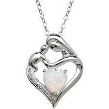 mothers pendant and child created opal and diamond accent pendant in