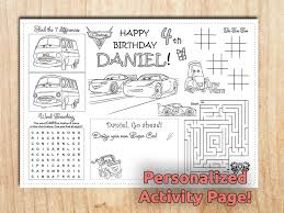 cing birthday party cars 3 birthday placemats lightning mcqueen activity page