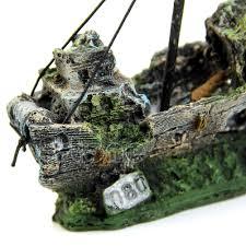 Aquarium Decorations Aquarium Ornament Wreck Sailing Boat Sunk Ship Destroyer Fish Tank