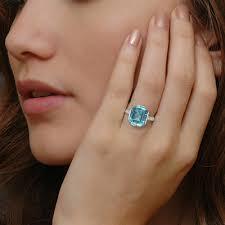 platinum rings art deco aquamarine ring