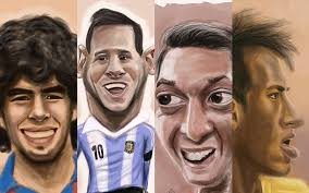 world cup caricatures cartoon sketches of 11 famous footballers