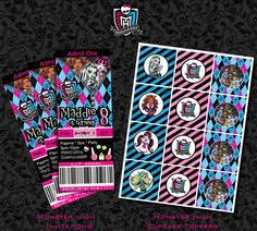 monster high invitation printable monster high ticket style