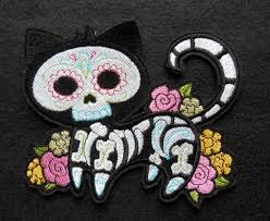 halloween patches day of the dead dias de los muerto skeleton cat patch large