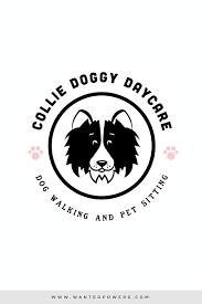Border Collie Dog Walking Daycare Logo Custom Pre Made Logo Design