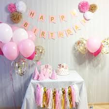 FENGRISE Pink Happy Birthday Banner White Tissue Paper Tassel
